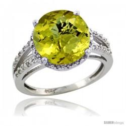 14k White Gold Diamond Lemon Quartz Ring 5.25 ct Round Shape 11 mm, 1/2 in wide