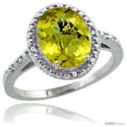 14k White Gold Diamond Lemon QuartzRing 2.4 ct Oval Stone 10x8 mm, 1/2 in wide