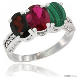 14K White Gold Natural Garnet, Ruby & Malachite Ring 3-Stone 7x5 mm Oval Diamond Accent