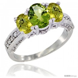 14k White Gold Ladies Oval Natural Peridot 3-Stone Ring with Lemon Quartz Sides Diamond Accent