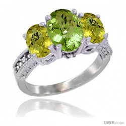 14K White Gold Ladies 3-Stone Oval Natural Peridot Ring with Lemon Quartz Sides Diamond Accent