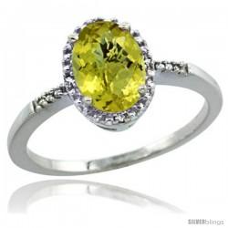 14k White Gold Diamond Lemon Quartz Ring 1.17 ct Oval Stone 8x6 mm, 3/8 in wide