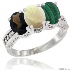 14K White Gold Natural Smoky Topaz, Opal & Malachite Ring 3-Stone 7x5 mm Oval Diamond Accent