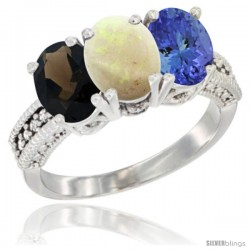 14K White Gold Natural Smoky Topaz, Opal & Tanzanite Ring 3-Stone 7x5 mm Oval Diamond Accent