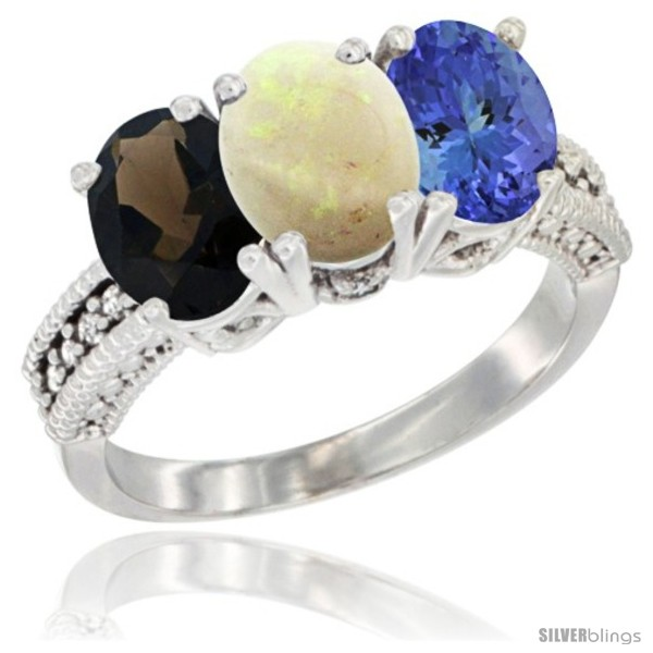 https://www.silverblings.com/65730-thickbox_default/14k-white-gold-natural-smoky-topaz-opal-tanzanite-ring-3-stone-7x5-mm-oval-diamond-accent.jpg