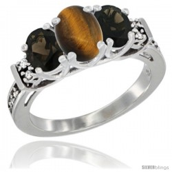 14K White Gold Natural Tiger Eye & Smoky Topaz Ring 3-Stone Oval with Diamond Accent