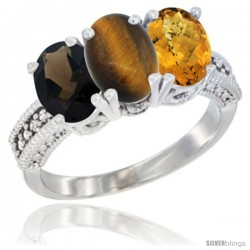 14K White Gold Natural Smoky Topaz, Tiger Eye & Whisky Quartz Ring 3-Stone 7x5 mm Oval Diamond Accent
