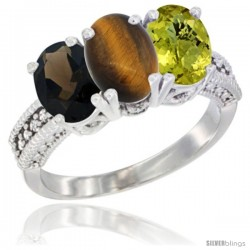 14K White Gold Natural Smoky Topaz, Tiger Eye & Lemon Quartz Ring 3-Stone 7x5 mm Oval Diamond Accent