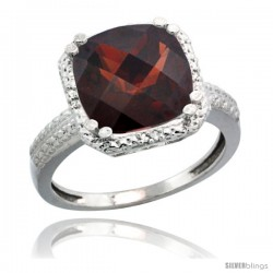 14k White Gold Diamond Garnet Ring 5.94 ct Checkerboard Cushion 11 mm Stone 1/2 in wide