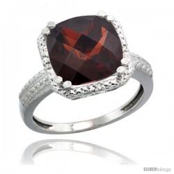 14k White Gold Diamond Garnet Ring 5.94 ct Checkerboard Cushion 11 mm Stone 1/2 in wide