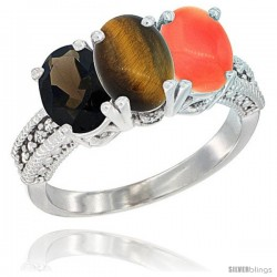 14K White Gold Natural Smoky Topaz, Tiger Eye & Coral Ring 3-Stone 7x5 mm Oval Diamond Accent