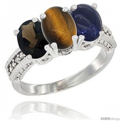 14K White Gold Natural Smoky Topaz, Tiger Eye & Lapis Ring 3-Stone 7x5 mm Oval Diamond Accent
