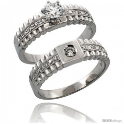 Sterling Silver 2-Piece Engagement Ring Set CZ Stones Rhodium finish, 1/4 in. 6 mm
