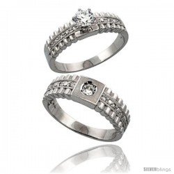 Sterling Silver 2-Piece CZ Ring Set 6mm Engagement Ring & 6.5mm Man's Wedding Band