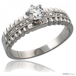 Sterling Silver Engagement Ring CZ Stones 1/4 in. 6 mm