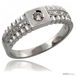Sterling Silver Ladies' Wedding Ring CZ Stones Rhodium Finish, 1/4 in. 6 mm