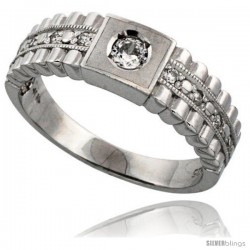 Sterling Silver Men's Wedding Ring CZ Stones Rhodium Finish, 1/4 in. 6.5 mm