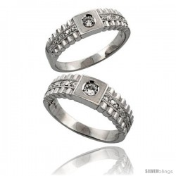 Sterling Silver 2-Piece His 6.5 mm & Hers 6 mm Wedding Ring Set CZ Stones Rhodium Finish