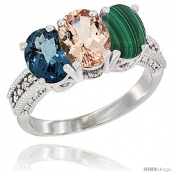 10K White Gold Natural London Blue Topaz, Morganite & Malachite Ring 3-Stone Oval 7x5 mm Diamond Accent