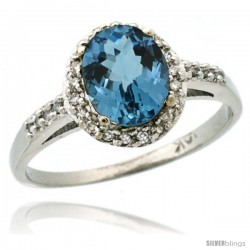 10k White Gold Diamond London Blue Topaz Ring Oval Stone 8x6 mm 1.17 ct 3/8 in wide