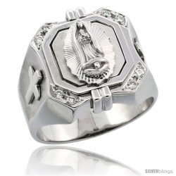 Sterling Silver Men's Immaculate Heart of Mary Square Ring Brilliant Cut CZ Stones, 3/4 in (17 mm) wide