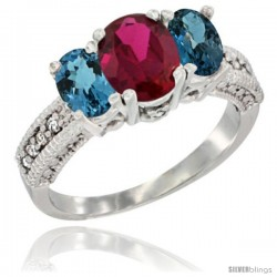 10K White Gold Ladies Oval Natural Ruby 3-Stone Ring with London Blue Topaz Sides Diamond Accent