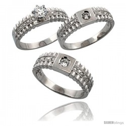 Sterling Silver 3-Piece His 6.5 mm & Hers 6 mm Trio Wedding Ring Set CZ Stones Rhodium Finish