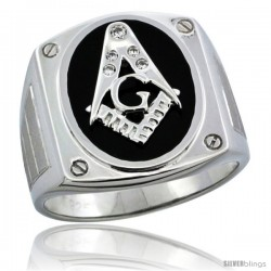 Sterling Silver Men's Black Onyx Masonic Ring CZ Stones & Screw Accents, 3/4 in (19 mm) wide
