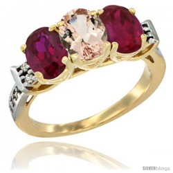 10K Yellow Gold Natural Morganite & Ruby Sides Ring 3-Stone Oval 7x5 mm Diamond Accent