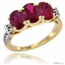 10K Yellow Gold Natural Ruby Ring 3-Stone Oval 7x5 mm Diamond Accent