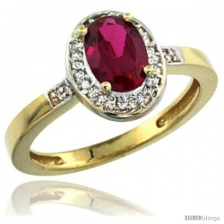 10k Yellow Gold Diamond Ruby Ring 1 ct 7x5 Stone 1/2 in wide