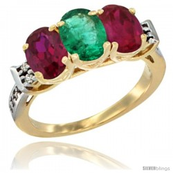 10K Yellow Gold Natural Emerald & Ruby Sides Ring 3-Stone Oval 7x5 mm Diamond Accent