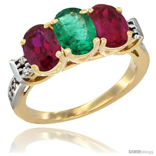 https://www.silverblings.com/65829-thickbox_default/10k-yellow-gold-natural-emerald-ruby-sides-ring-3-stone-oval-7x5-mm-diamond-accent.jpg