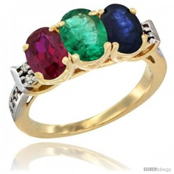 10K Yellow Gold Natural Ruby, Emerald & Blue Sapphire Ring 3-Stone Oval 7x5 mm Diamond Accent