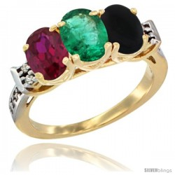 10K Yellow Gold Natural Ruby, Emerald & Black Onyx Ring 3-Stone Oval 7x5 mm Diamond Accent