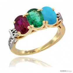 10K Yellow Gold Natural Ruby, Emerald & Turquoise Ring 3-Stone Oval 7x5 mm Diamond Accent