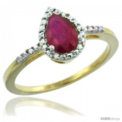 10k Yellow Gold Diamond Ruby Ring 0.59 ct Tear Drop 7x5 Stone 3/8 in wide