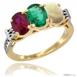 10K Yellow Gold Natural Ruby, Emerald & Opal Ring 3-Stone Oval 7x5 mm Diamond Accent