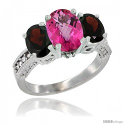 10K White Gold Ladies Natural Pink Topaz Oval 3 Stone Ring with Garnet Sides Diamond Accent