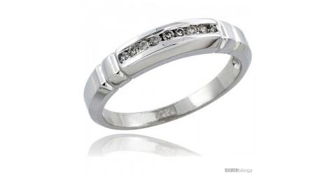 w// 0.013 Carat Brilliant Cut Diamonds 4mm 5//32 in. 14k White Gold Ladies Diamond Wedding Ring Band wide size 8