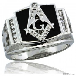 Sterling Silver Men's Black Onyx Masonic Ring CZ Stones & Frosted Crosses on Sides, 19/32 in (15 mm) wide