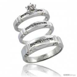 14k White Gold 3-Piece Trio His (6.5mm) & Hers (4mm) Diamond Wedding Ring Band Set w/ 0.39 Carat Brilliant Cut Diamonds