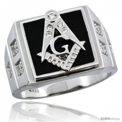 Sterling Silver Men's Black Onyx Masonic Ring CZ Stones & Square Accents, 19/32 in (15 mm) wide