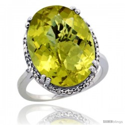 14k White Gold Diamond Halo Large Lemon Quartz Ring 10.3 ct Oval Stone 18x13 mm, 3/4 in wide