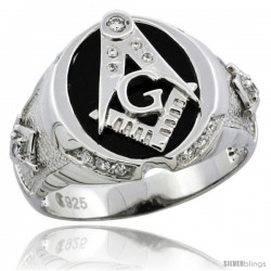 Sterling Silver Men's Black Onyx Masonic Ring CZ Stones & Textured Sides, 5/8 in (16 mm) wide