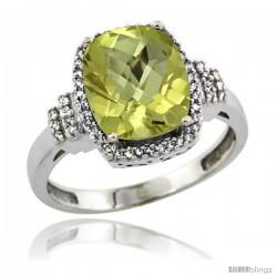 14k White Gold Diamond Halo London Quartz Ring 2.4 ct Cushion Cut 9x7 mm, 1/2 in wide