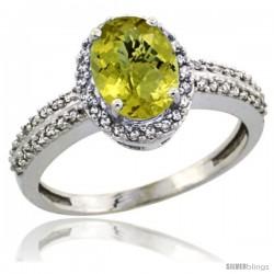 14k White Gold Diamond Halo Lemon Quartz Ring 1.2 ct Oval Stone 8x6 mm, 3/8 in wide