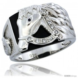 Sterling Silver Men's Black Onyx Horse Ring CZ Stones, 1/2 in (14.5 mm) wide