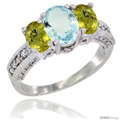 14k White Gold Ladies Oval Natural Aquamarine 3-Stone Ring with Lemon Quartz Sides Diamond Accent