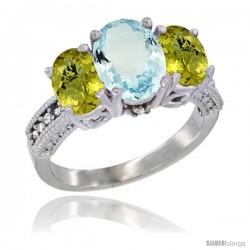 14K White Gold Ladies 3-Stone Oval Natural Aquamarine Ring with Lemon Quartz Sides Diamond Accent